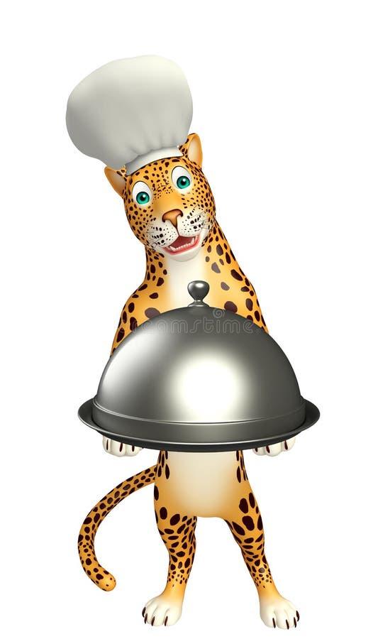 Śliczny lamparta postać z kreskówki z szefa kuchni cloche i kapeluszem ilustracji