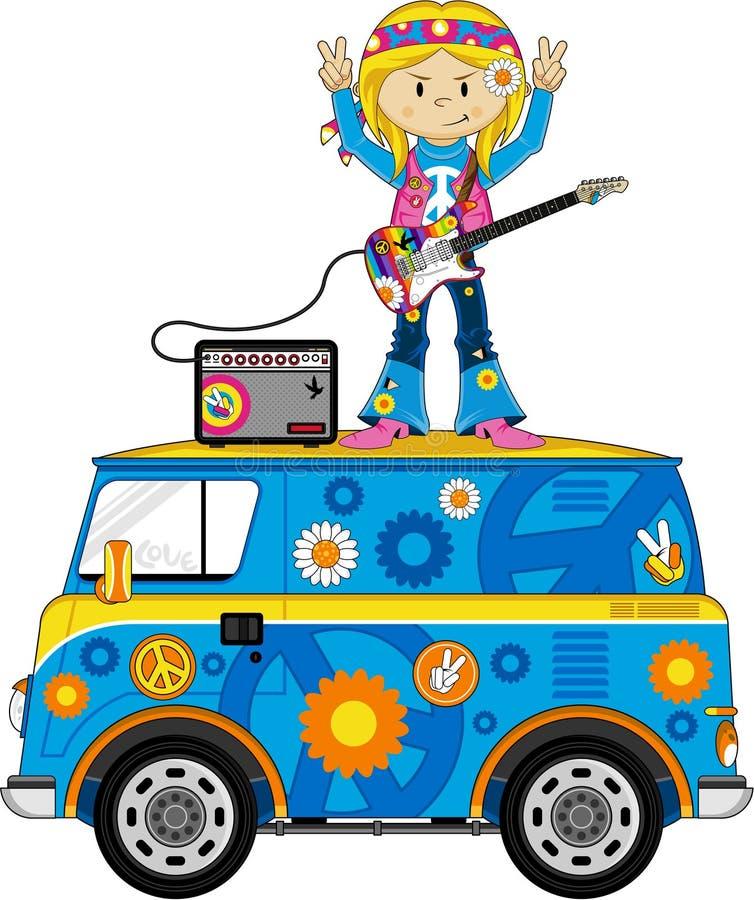 Śliczny lata sześćdziesiąte hipisa dziewczyny muzyk na obozowiczu Van ilustracji