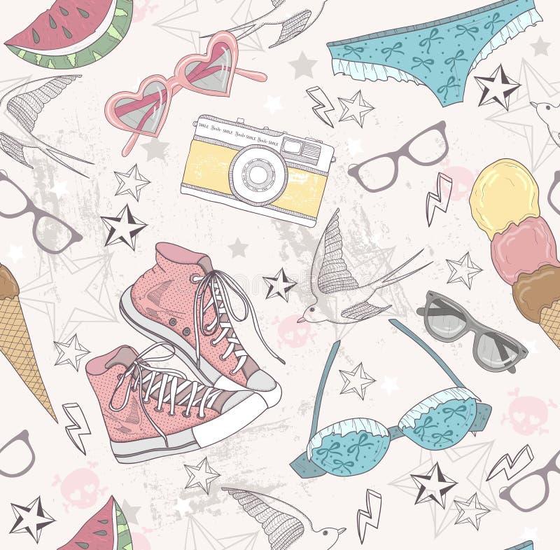 Śliczny lato abstrakta wzór. Bezszwowy deseniowy dowcip ilustracja wektor