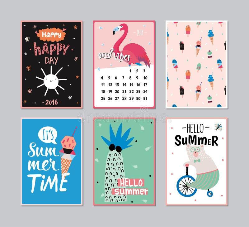 Śliczny lato plakata set ilustracji