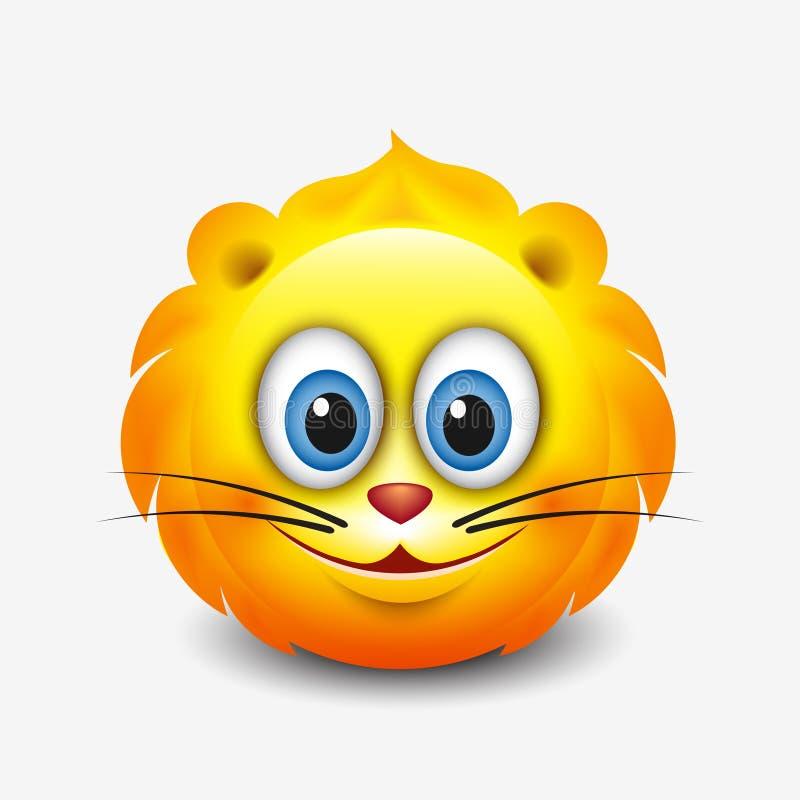 Śliczny Leo emoticon, emoji horoskop wektorowa ilustracja - astrologiczny znak - zodiak - ilustracji