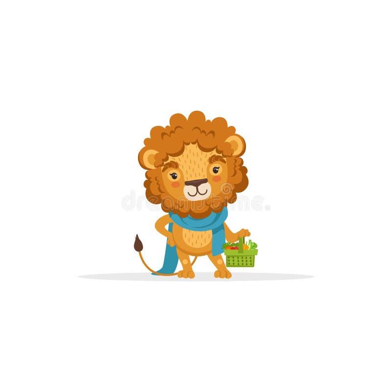 Śliczny lew ogrodniczki charakteru mienia kosz Świezi warzywa, Śmieszny Afrykański Zwierzęcy postać z kreskówki wektor ilustracja wektor