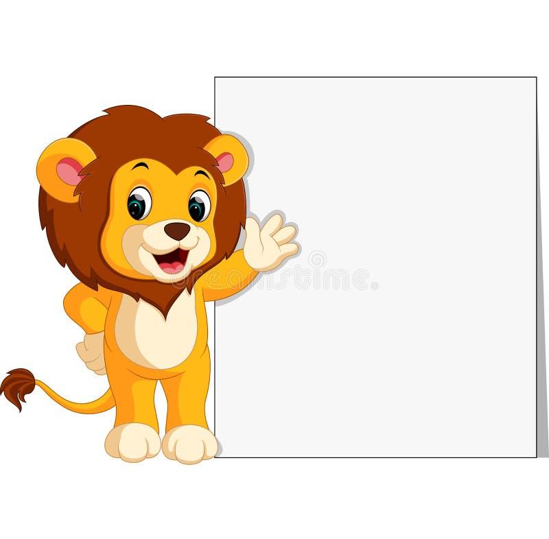 Śliczny lew z puste miejsce znakiem ilustracja wektor