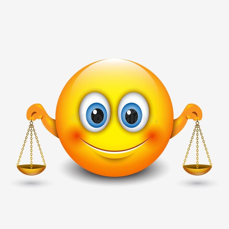 Śliczny libra emoticon, emoji, trzyma waży horoskop - wektorowa ilustracja - astrologiczny znak - ilustracji