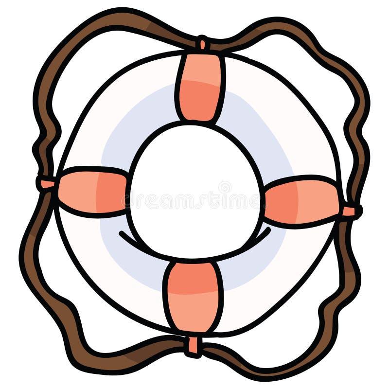 Śliczny lifering kreskówka motywu wektorowy ilustracyjny set Wręcza rysującego odosobnionego lifebuoy elementu clipart dla niebez royalty ilustracja