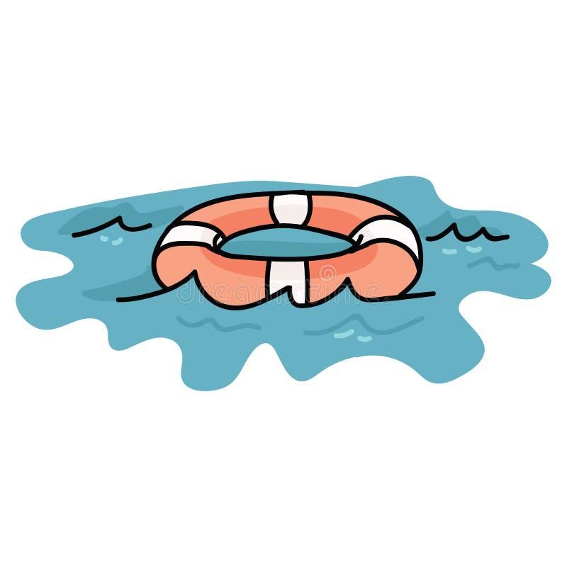 Śliczny lifering na wodnej kreskówki motywu wektorowym ilustracyjnym secie Wręcza rysującego odosobnionego lifebuoy elementu clip ilustracji