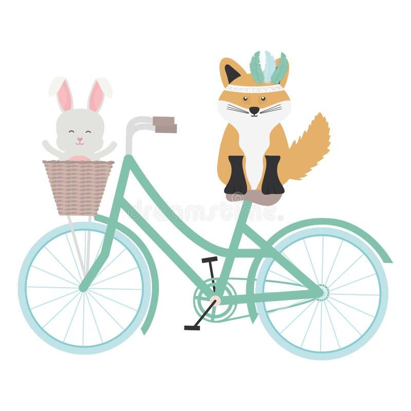 Śliczny lis i królik z piórkami kapeluszowymi w rowerowym czechu projektujemy ilustracja wektor