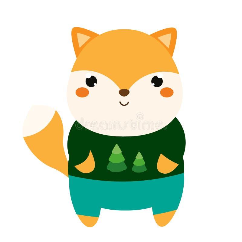 śliczny lis Kreskówki kawaii zwierzęcy charakter w odziewa Wektorowa ilustracja dla dzieciaków i dzieci mody royalty ilustracja