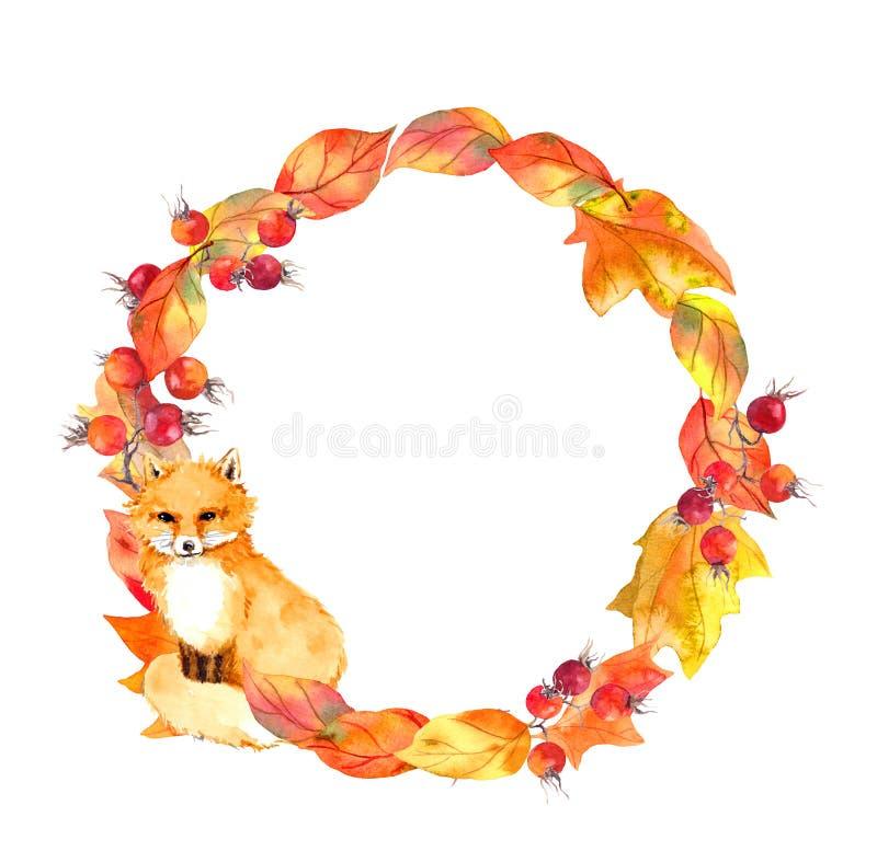 Śliczny lis, liście, jagody Jesień wianek Akwarela okręgu granica obraz stock