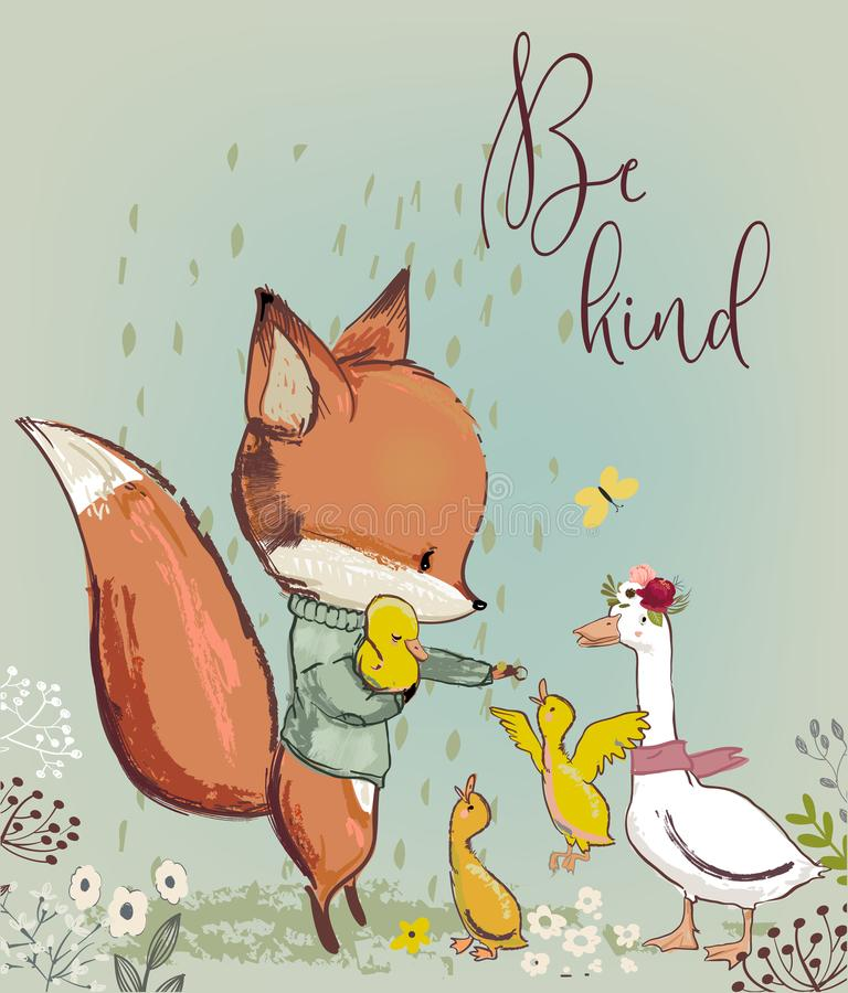 Śliczny lis z kaczkami ilustracja wektor