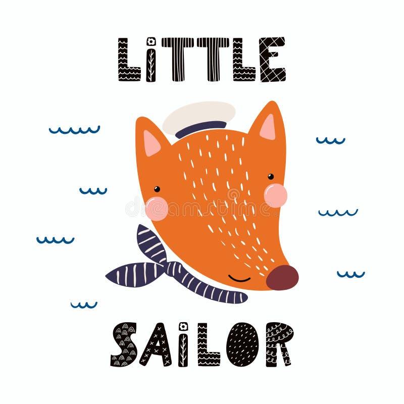 Śliczny lisa żeglarz ilustracja wektor