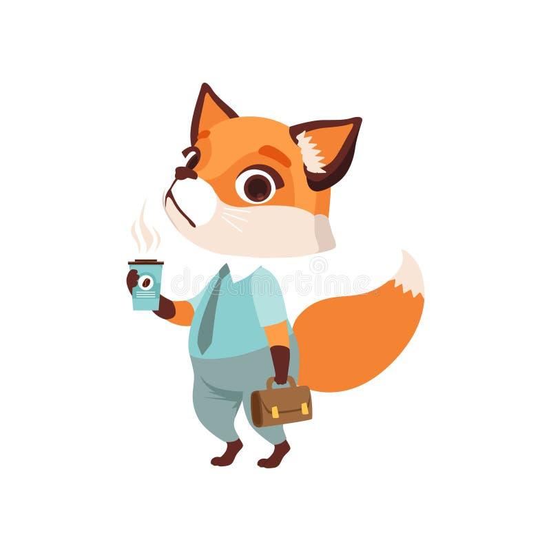 Śliczny lisa biznesmena charakter w formalnej odzieży z filiżanką kawy i teczką, śmieszna lasowa zwierzęca wektorowa ilustracja royalty ilustracja