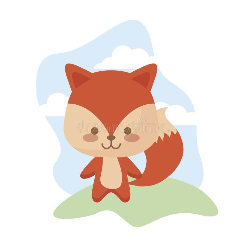 Śliczny lisa zwierzę w krajobrazie ilustracji