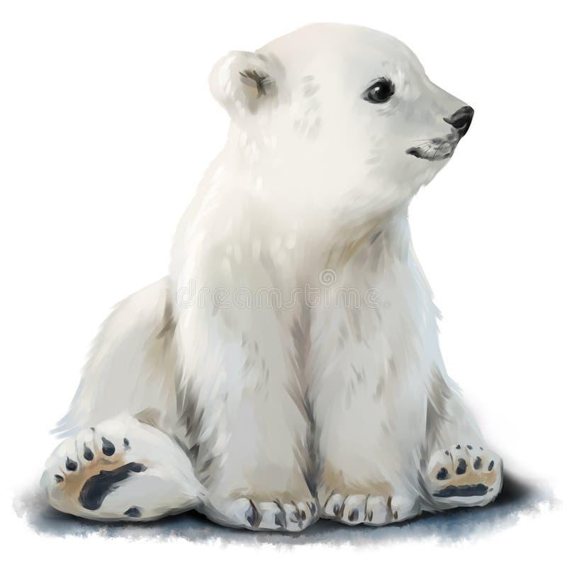 Śliczny lisiątko niedźwiedź polarny ilustracji