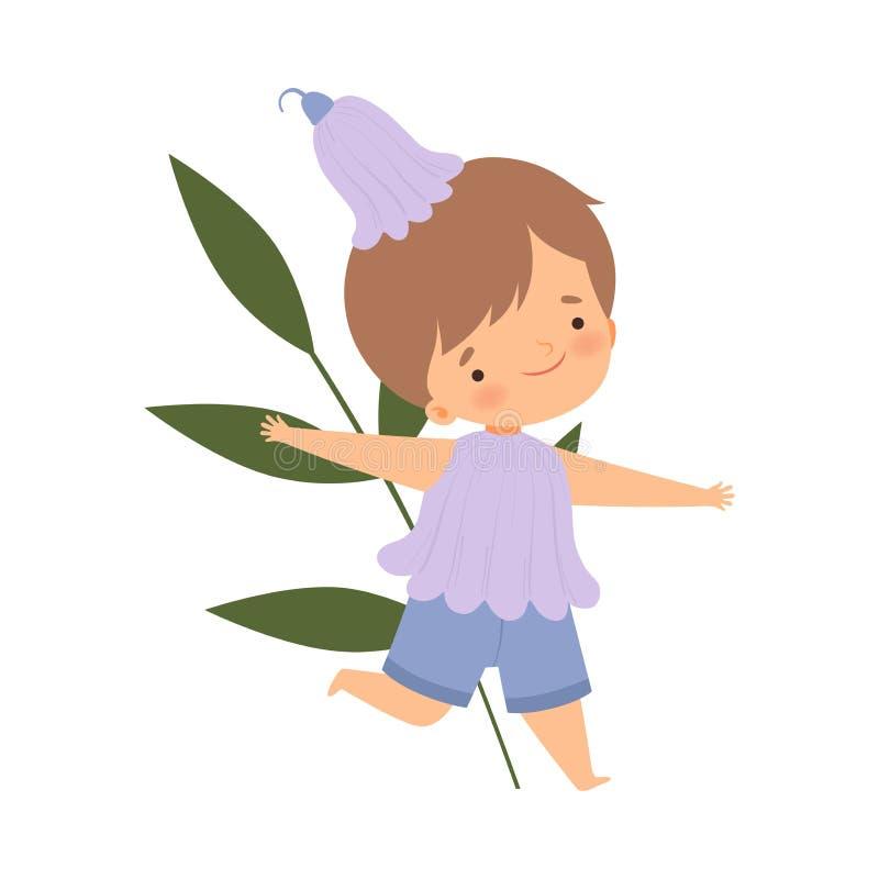 Śliczny Little Boy Jest ubranym barwinka kwiatu kostium, Uroczy dzieciak w karnawał Odzieżowej Wektorowej ilustracji royalty ilustracja