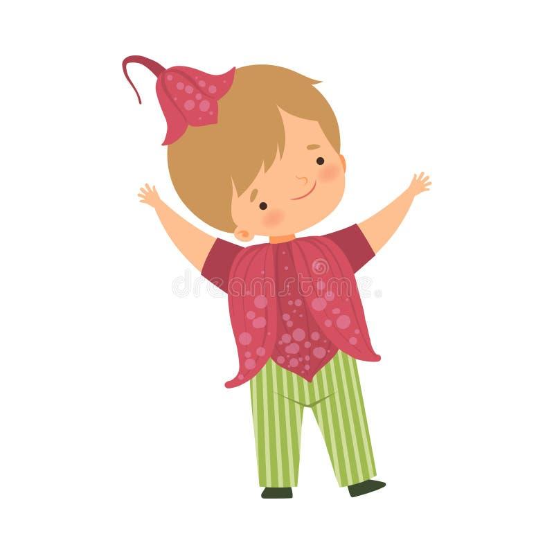 Śliczny Little Boy Jest ubranym zmrok menchii kwiatu kostium i nakrętkę, Uroczy dzieciak w karnawał Odzieżowej Wektorowej ilustra ilustracji
