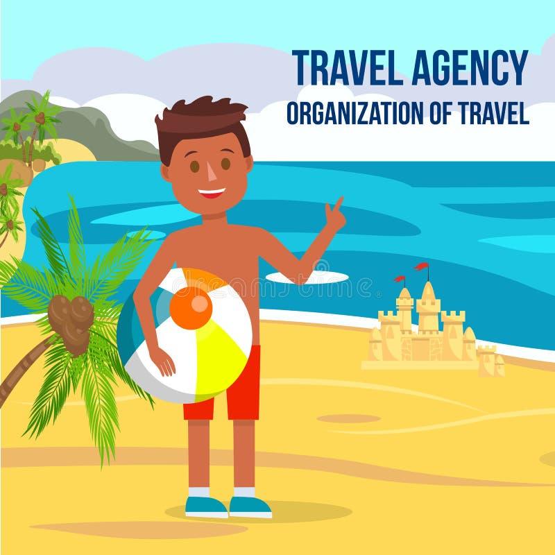 Śliczny Little Boy z piłką w rękach na lato plaży royalty ilustracja