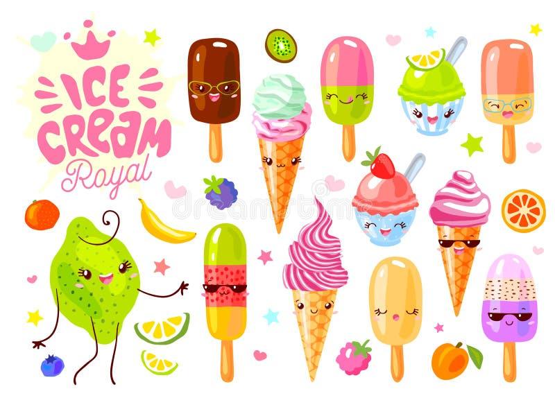 Śliczny lody marznący soku lodowego lolly śmieszni charaktery ustawiający Uśmiechniętych kreskówki twarzy szczęśliwych dzieciaków ilustracji