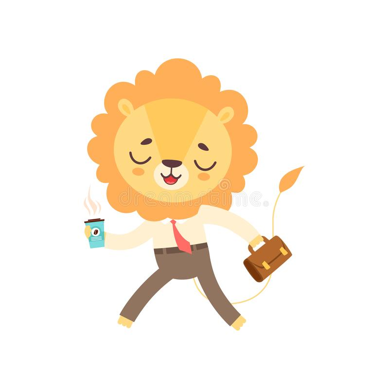 Śliczny lwa biznesmena odprowadzenie z filiżanka kawy i teczką, Śmieszny Afrykański Zwierzęcy postać z kreskówki wektor ilustracja wektor