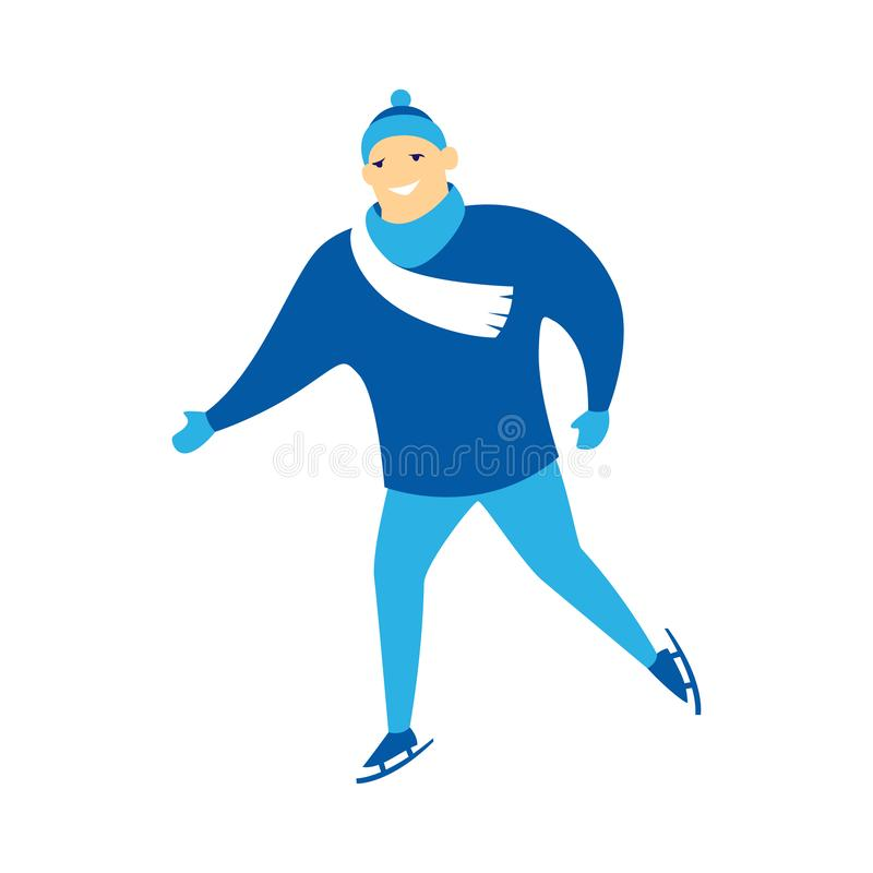 Śliczny mężczyzny łyżwiarstwo ilustracji