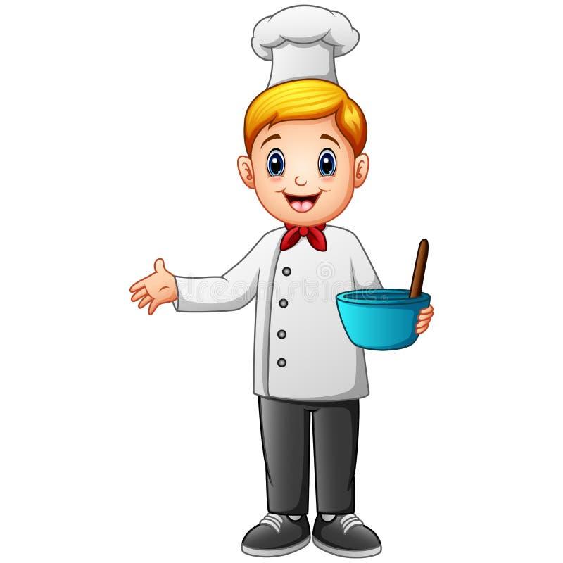 Śliczny młody szef kuchni w jednolitym mieniu miesza puchar i śmignięcie ilustracji