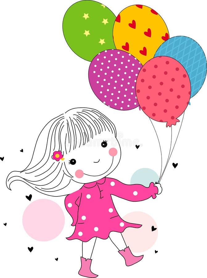 Śliczny mała dziewczynka bieg z balonami royalty ilustracja
