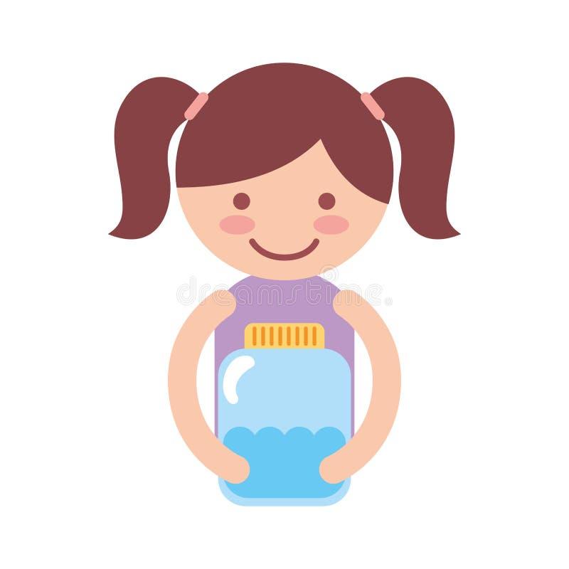 Śliczny mała dziewczynka charakter z watter butelką ilustracji