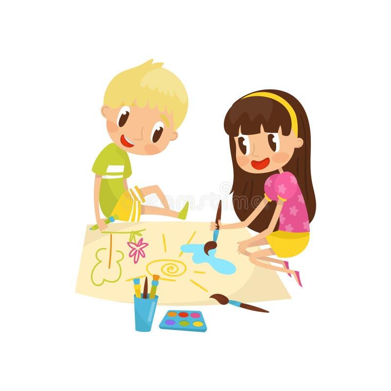 Śliczny małej dziewczynki, chłopiec obsiadanie na i maluje na wielkim prześcieradle papier, edukacja i dziecko, ilustracji