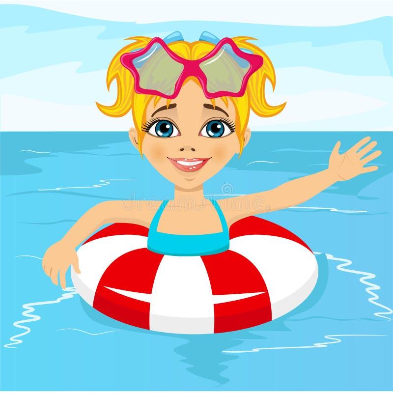 Śliczny małej dziewczynki dopłynięcie w basenie z nadmuchiwanym pierścionkiem ilustracja wektor