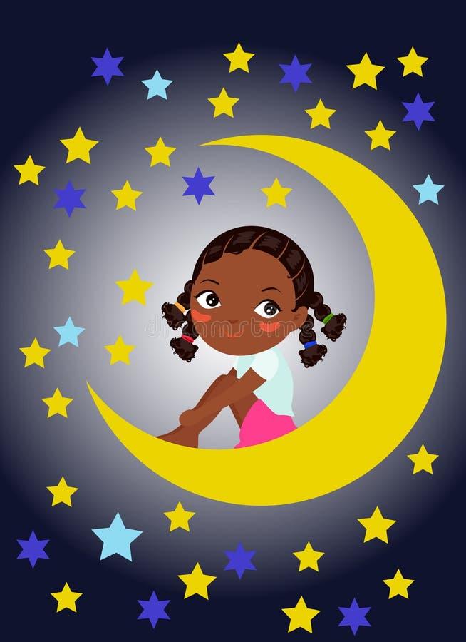 Śliczny małej dziewczynki obsiadanie na księżyc ilustracji