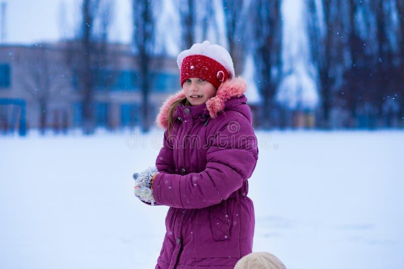 Śliczny małej dziewczynki odprowadzenie w śniegu parku obraz stock