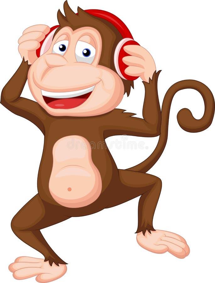 Śliczny małpi kreskówka taniec royalty ilustracja