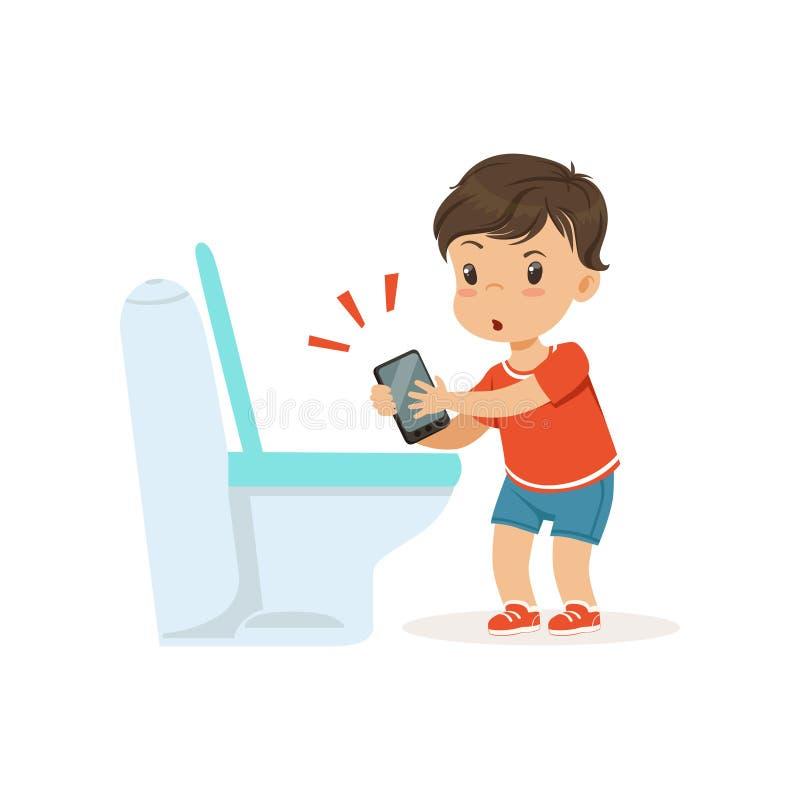 Śliczny mały łobuz chłopiec miotania telefon w toaletę, bandziora rozochocony małe dziecko, zły dziecka zachowania wektor royalty ilustracja