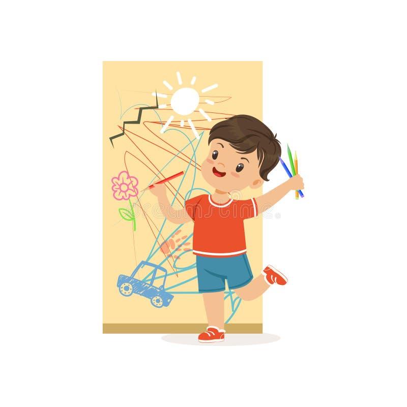 Śliczny mały łobuz chłopiec rysunek na ścianie, bandziora rozochocony małe dziecko, zła dziecka zachowania wektoru ilustracja ilustracja wektor