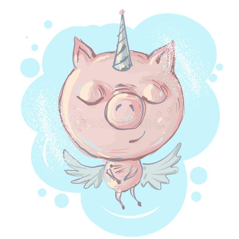Śliczny mały świniowaty charakter z jednorożec rogiem i skrzydło wektoru ilustracją ilustracja wektor