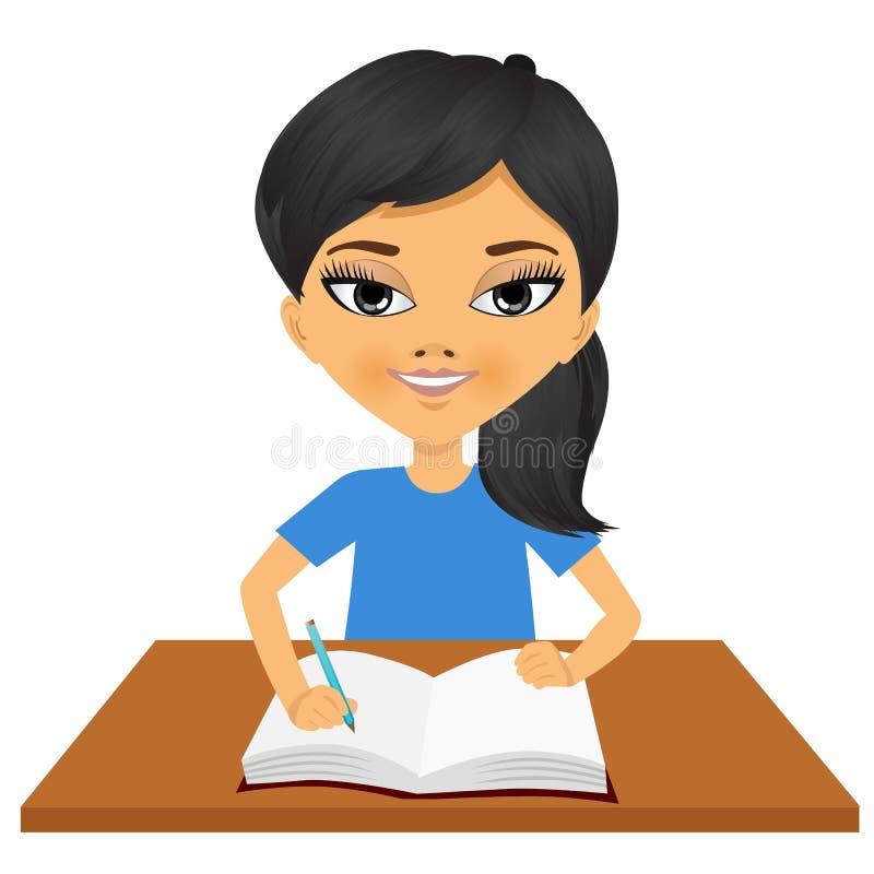 Śliczny mały azjatykci studencki dziewczyny writing ilustracja wektor