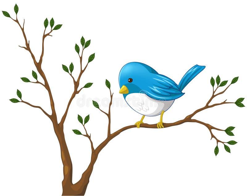 Śliczny mały błękitny ptak na gałąź drzewo ilustracji