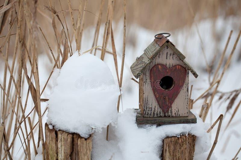 Śliczny mały birdhouse z sercem zdjęcie stock