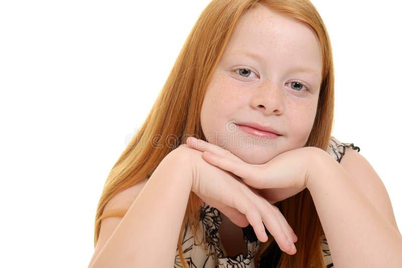 Śliczny mały czerwony włosiany dziewczyna portret obraz royalty free