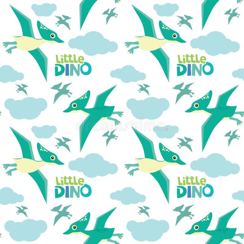 Śliczny Mały Dino pterodaktyl Lata Bezszwowego wzór Odizolowywającego na Białej Wektorowej ilustracji ilustracji