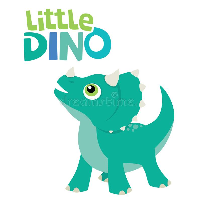 Śliczny Mały dziecka Triceratops dinosaur Przyglądający W górę Małego Dino literowania Wektorowej ilustracji Odizolowywającej na  ilustracja wektor