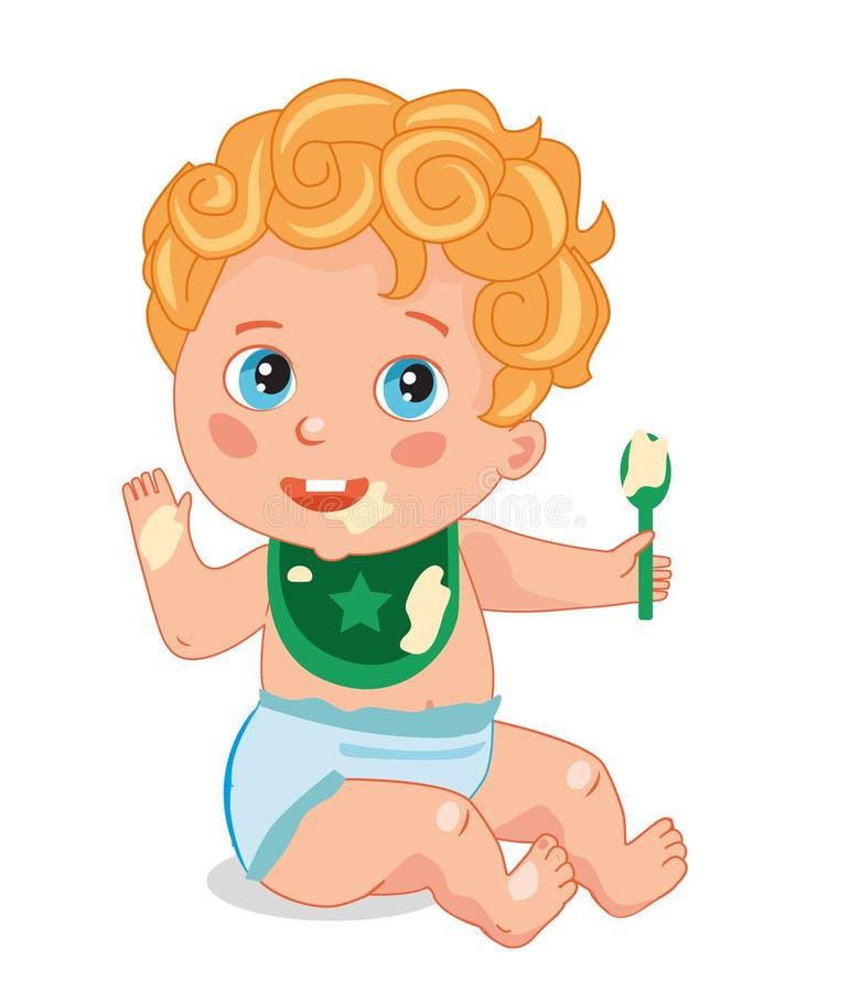 Śliczny Mały dziecko Z łyżką dziecko je owsiankę ilustracja wektor