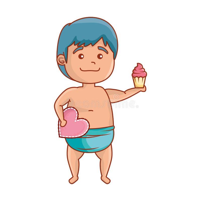 Śliczny mały dziecko z sercem i babeczką royalty ilustracja