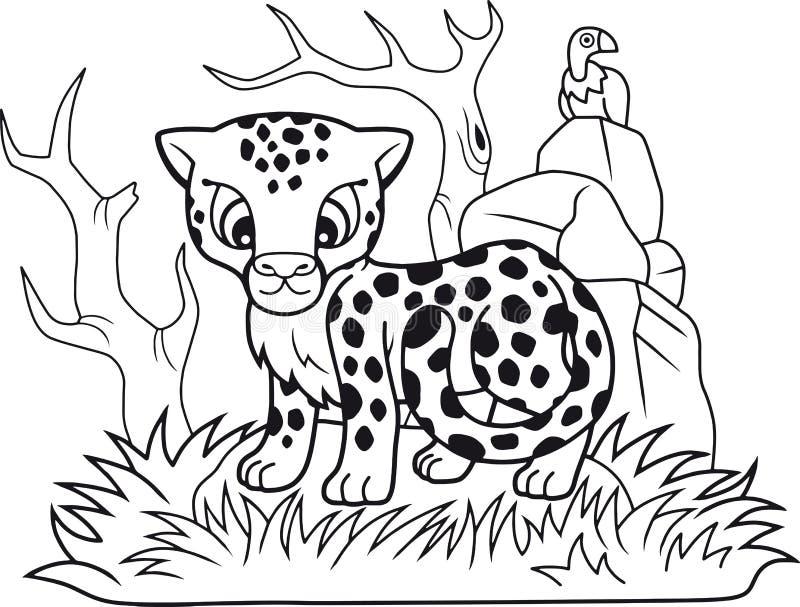 Śliczny mały gepard, śmieszna ilustracja, kolorystyki książka ilustracja wektor