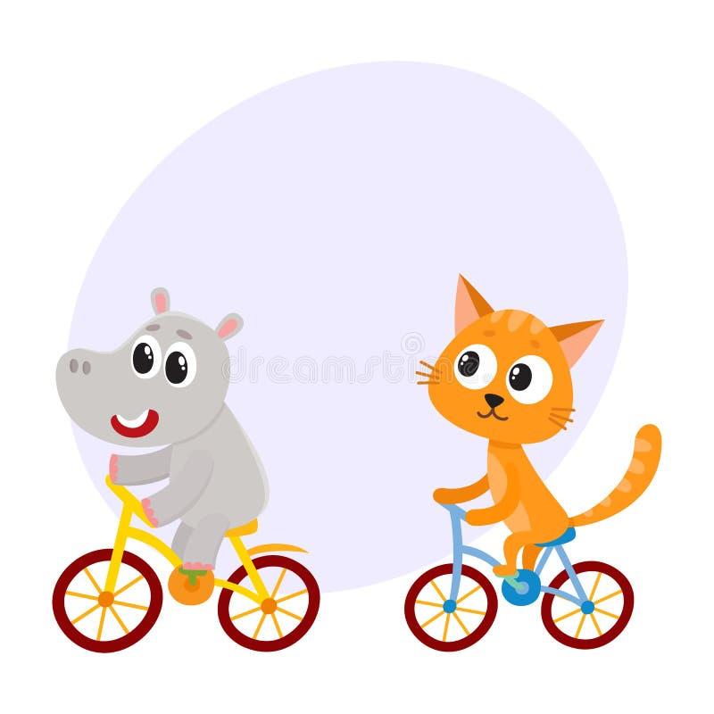 Śliczny mały hipopotam i kot, figlarka charaktery jedzie bicykle wpólnie ilustracja wektor