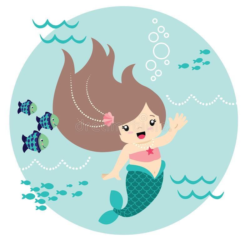 Śliczny Mały Kawaii stylu syrenki Machać Podwodny z Rybim okręgu projektem Odizolowywającym na Białej Wektorowej ilustracji royalty ilustracja