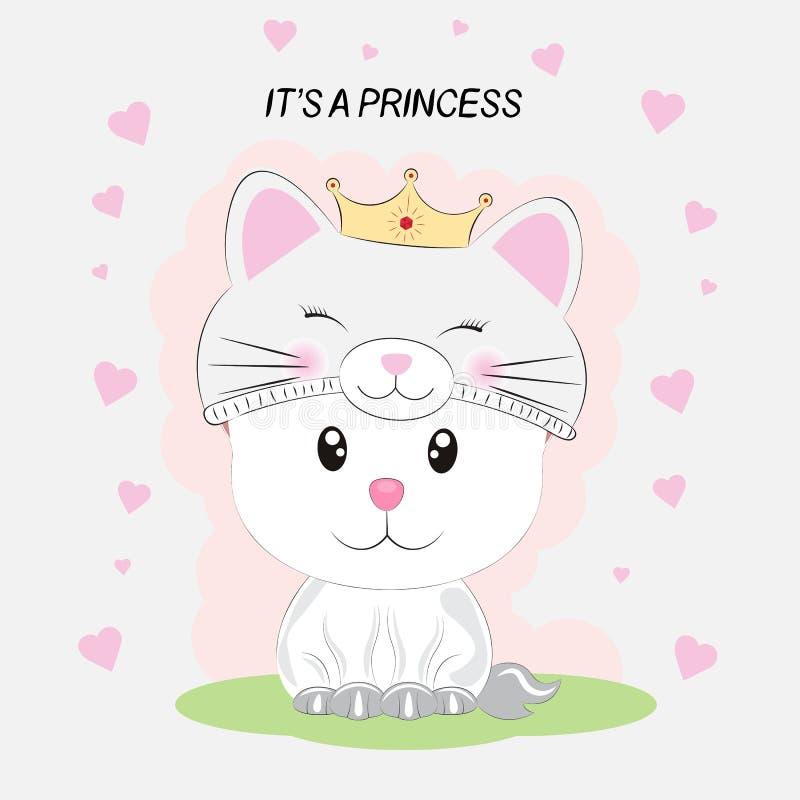 Śliczny mały kot w figlarki princess kapeluszu na białym tle z sercami ilustracja wektor