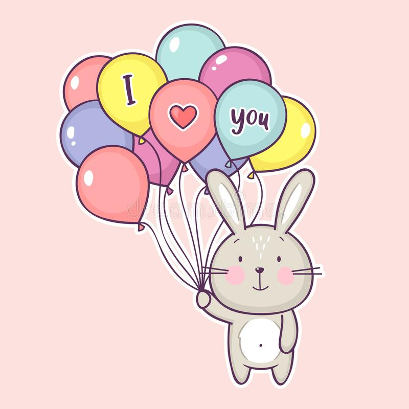 Śliczny mały królik trzyma lotniczych balony z inskrypcją kocham ciebie ilustracji