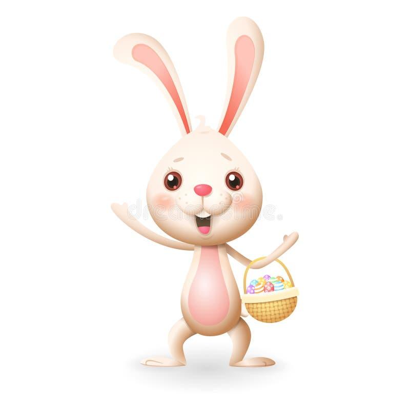 Śliczny mały królik z dekorującymi jajkami w trykotowym koszu świętuje wielkanoc - odizolowywającą na białym tle royalty ilustracja