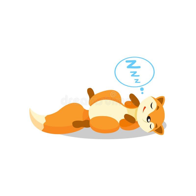 Śliczny mały lisa dosypianie na podłogowego, śmiesznego ciuci postać z kreskówki wektorowej ilustraci na białym tle, ilustracja wektor